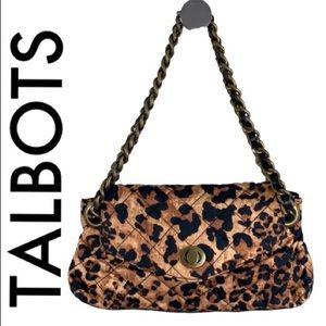 TALBOTS BLACK TAN LEOPARD SHOULDER BAG